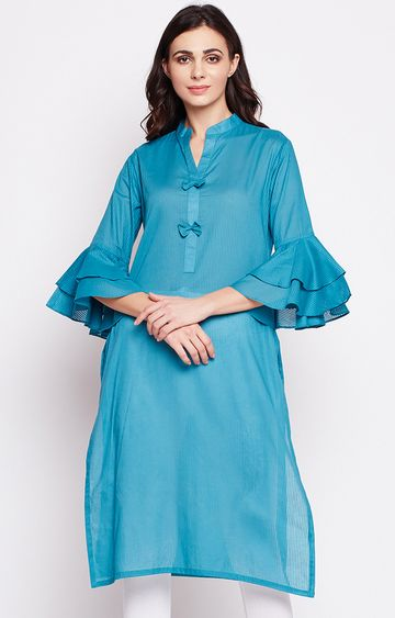 Fabnest | Blue Striped Kurti