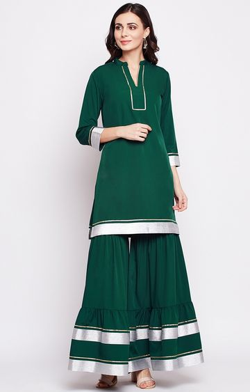 Fabnest | Green Solid Palazzo and Kurta