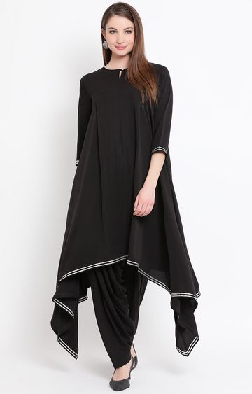 Fabnest | Black Solid Salwar and Kurta