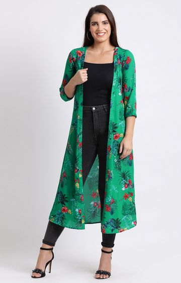 Fabnest | Green Printed Ethnic Jacket