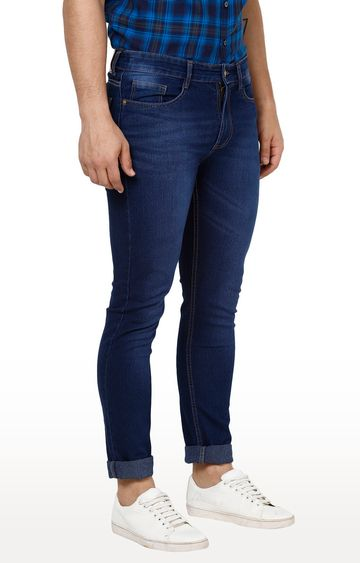 Urbano Fashion | Dark Blue Solid Tapered Jeans