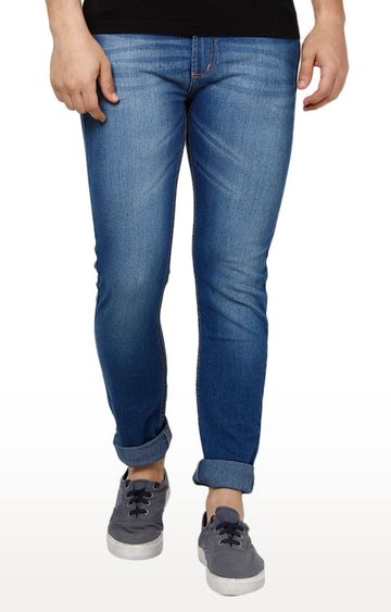 Urbano Fashion | Blue Solid Tapered Jeans
