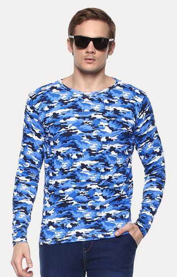 Urbano Fashion | Blue Printed T-Shirt