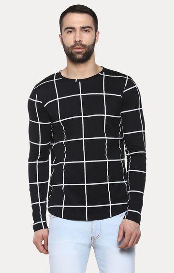 Urbano Fashion | Black Checked T-Shirt