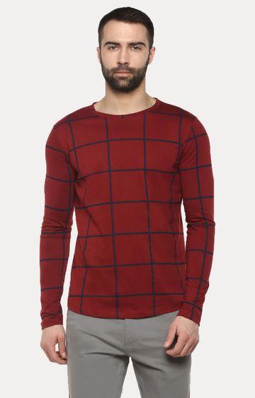 Urbano Fashion | Maroon Checked T-Shirt