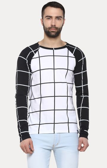 Urbano Fashion | White and Black Checked T-Shirt