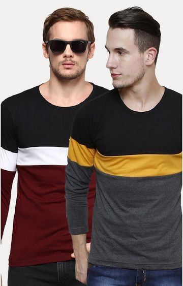 Urbano Fashion | Multicoloured Colourblock T-Shirt - Pack Of 2