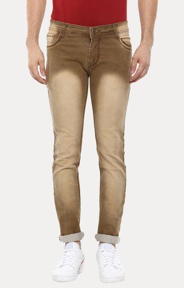 Urbano Fashion | Brown Solid Straight Jeans
