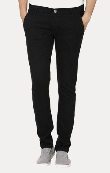 Urbano Fashion | Black Solid Straight Jeans