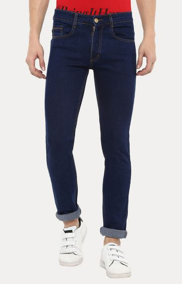 Urbano Fashion | Dark Blue Solid Straight Jeans