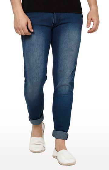 Urbano Fashion | Dark Blue Solid Tapered Jeans