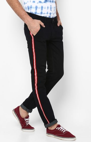 Urbano Fashion | Black Solid Tapered Jeans