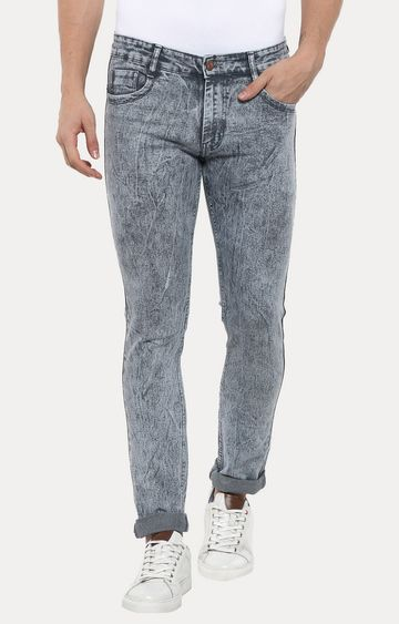 Urbano Fashion | Light Grey Solid Straight Jeans