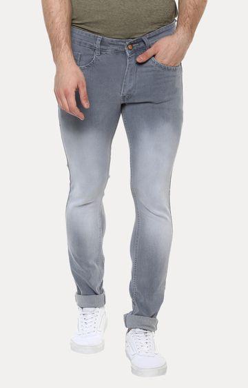 Urbano Fashion | Light Grey Solid Straight Jeans