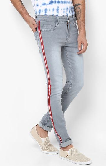 Urbano Fashion   Light Grey Solid Tapered Jeans