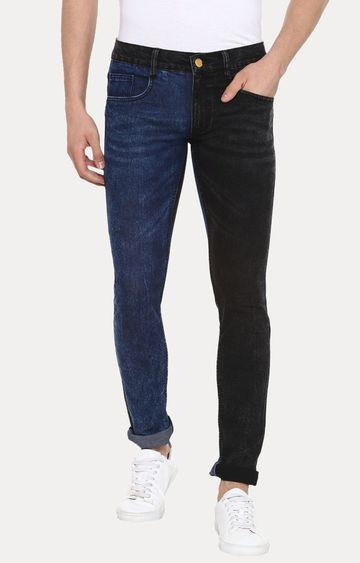 Urbano Fashion | Blue and Black Colourblock Straight Jeans