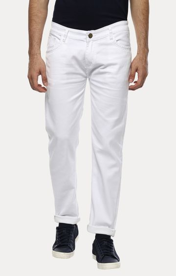 Urbano Fashion | White Solid Straight Jeans