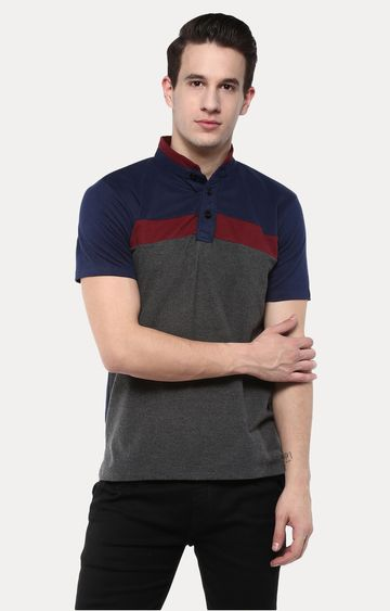 Urbano Fashion | Navy and Grey Colourblock Polo T-Shirt