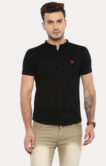Urbano Fashion | Black Solid Casual Shirt