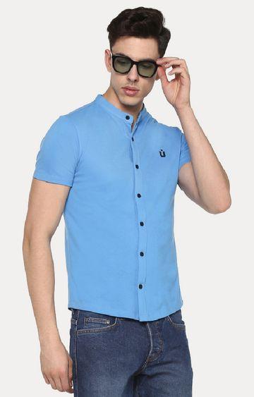 Urbano Fashion | Blue Cotton Polo Shirt