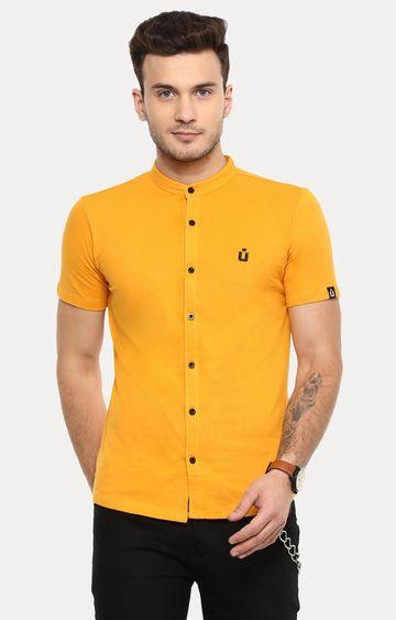 Urbano Fashion | Yellow Solid Casual Shirt
