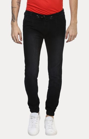 Urbano Fashion | Black Solid Joggers