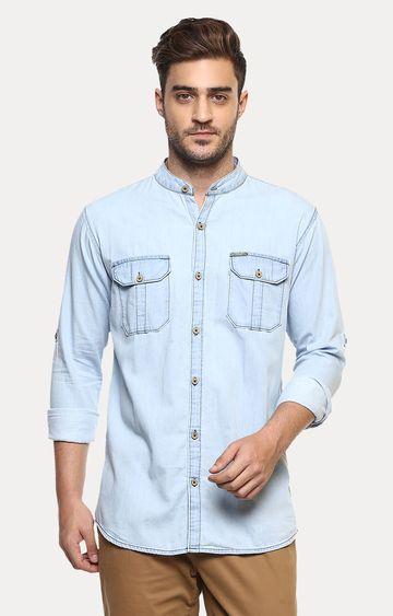 Urbano Fashion   Light Blue Solid Casual Shirt