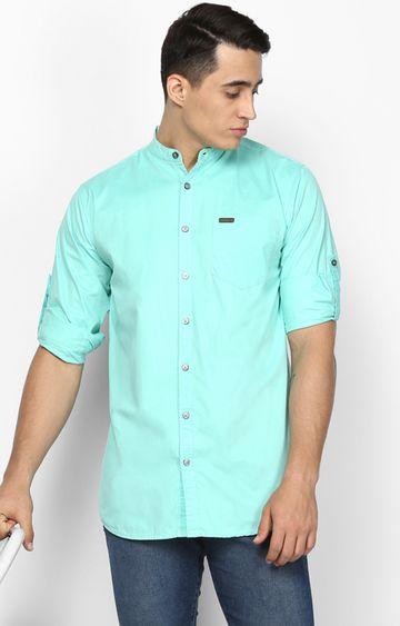 Urbano Fashion | Aqua Blue Solid Casual Shirt