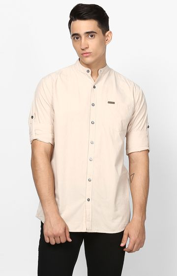 Urbano Fashion | Beige Solid Casual Shirt