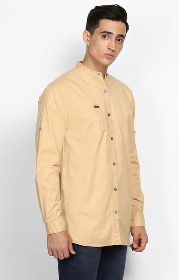 Urbano Fashion | Beige Solid Casual Shirt