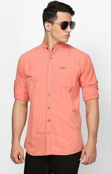 Urbano Fashion | Light Orange Solid Casual Shirt