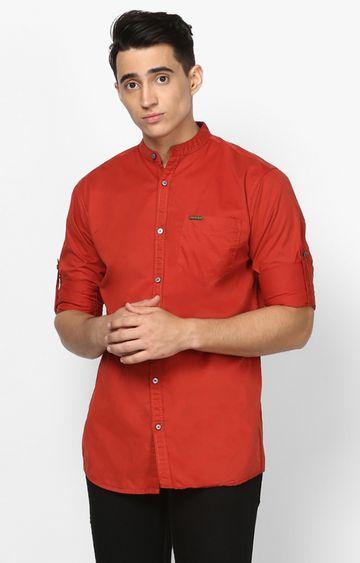 Urbano Fashion | Maroon Solid Casual Shirt