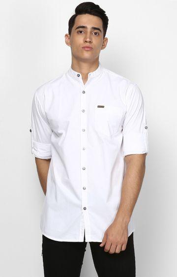 Urbano Fashion | White Solid Casual Shirt