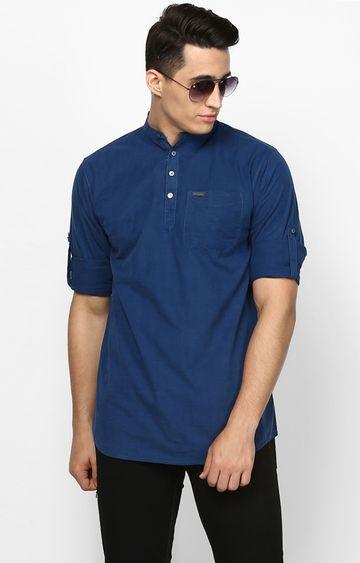 Urbano Fashion | Dark Blue Solid Casual Shirt