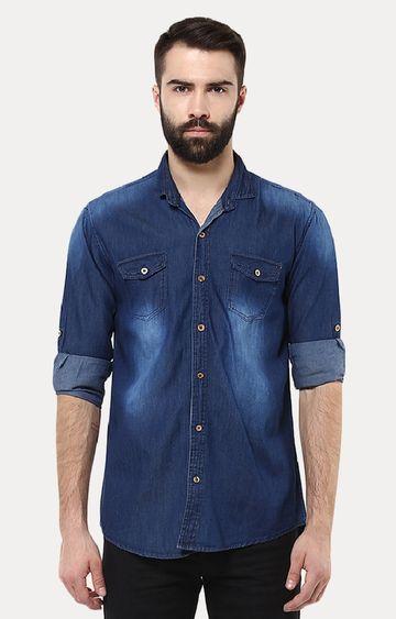 Urbano Fashion   Dark Blue Solid Casual Shirt