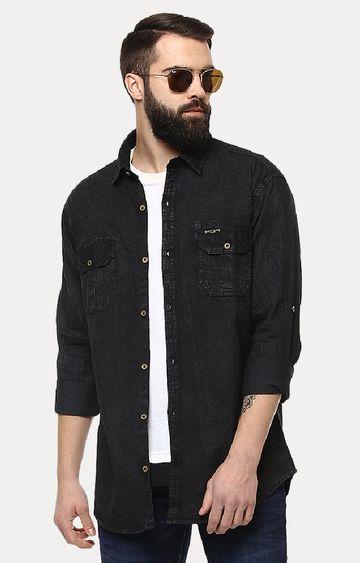 Urbano Fashion   Black Solid Casual Shirt