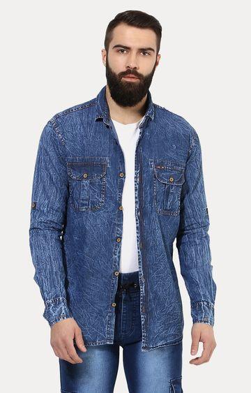Urbano Fashion | Blue Printed Casual Shirt