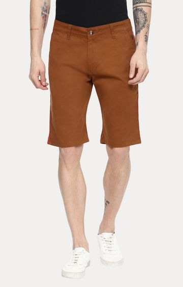 Urbano Fashion | Brown Solid Shorts