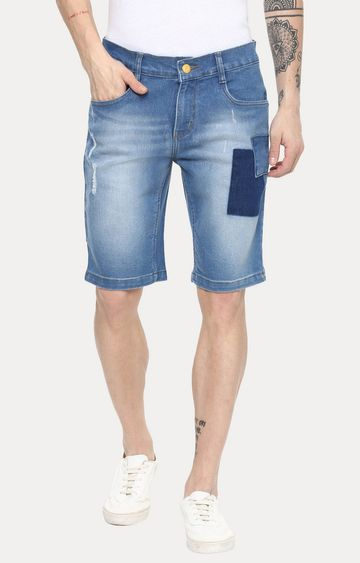 Urbano Fashion | Light Blue Solid Shorts