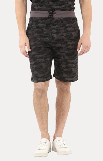Urbano Fashion | Grey and Green Printed Shorts