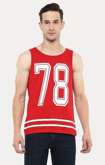 Urbano Fashion | Red Printed Sleeveless T-Shirt