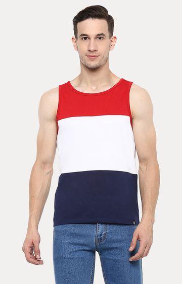 Urbano Fashion   Multicoloured Colourblock Sleeveless T-Shirt