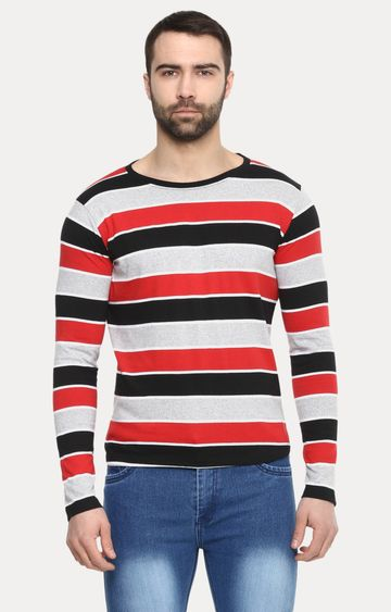 Urbano Fashion   Multicoloured Striped T-Shirt