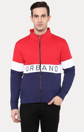 Urbano Fashion | Red and Blue Colourblock Sweatshirt