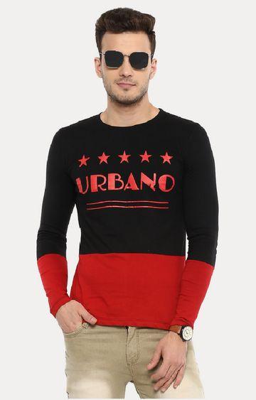 Urbano Fashion | Black & Red Printed T-Shirt
