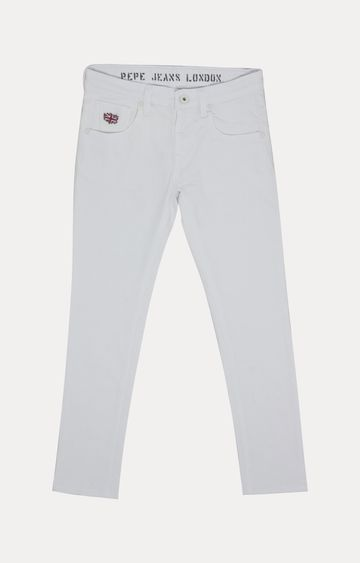 Pepe Jeans   White Solid Jeans
