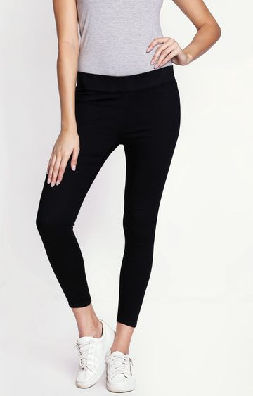 Pepe Jeans | Black Solid Capri Jeggings