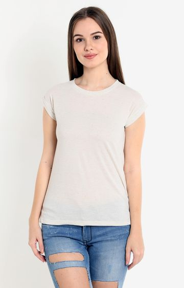 Pepe Jeans | Cream Solid T-Shirt