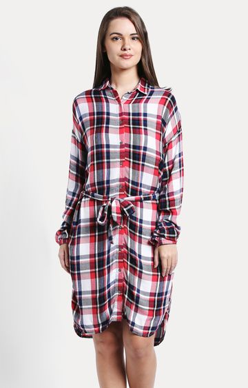 Pepe Jeans | Red Checked Shirt Dress