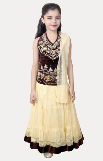 KBKIDSWEAR | Brown and Beige Printed Lehenga